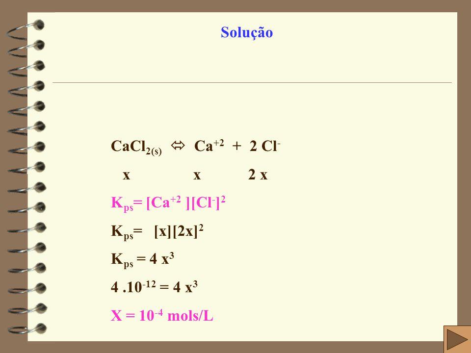 Solução CaCl2(s)  Ca+2 + 2 Cl- x x 2 x. Kps= [Ca+2 ][Cl-]2. Kps= [x][2x]2.